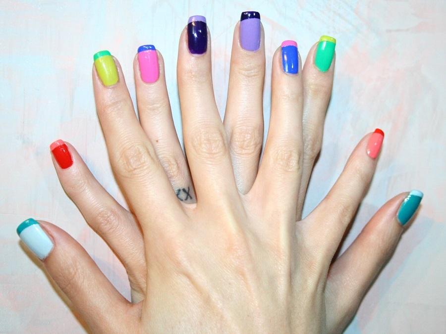 Unghie gel french: bianco, glitter e colorato | Style Girl