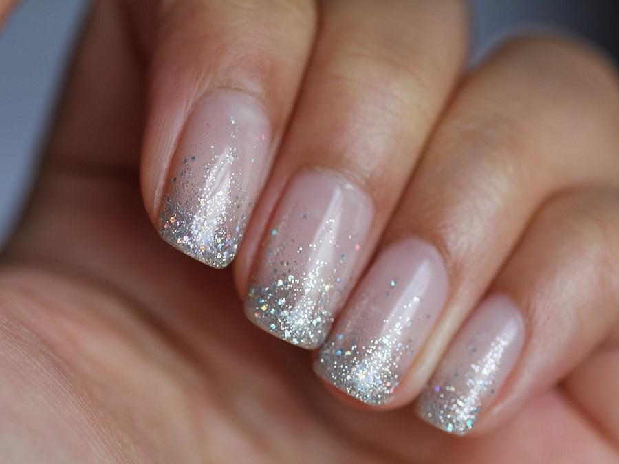 Unghie Gel French Glitter Oro