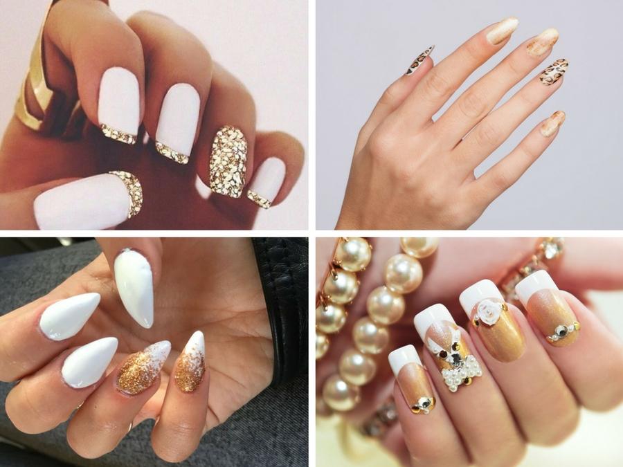 unghie bianche e oro