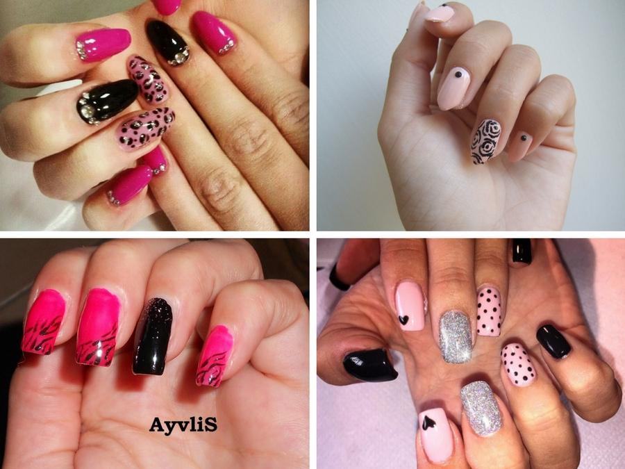 unghie nere e rosa