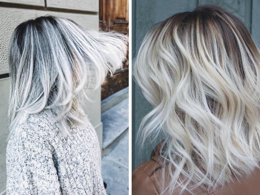 Shatush bianco la tendenza del 2017 style girl - Bagno di colore grigio capelli ...