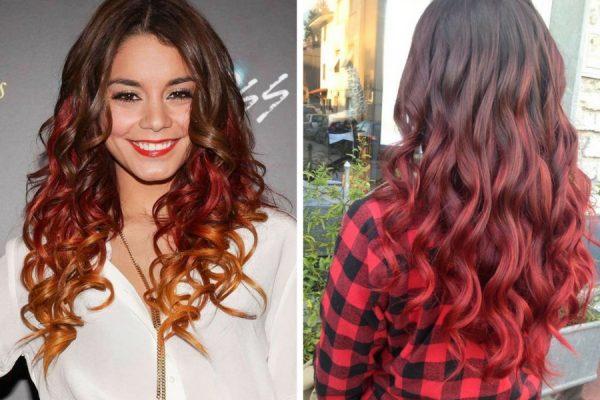 Shatush rosso su capelli castani