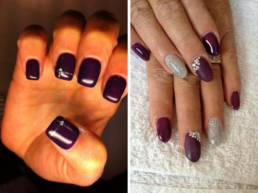 unghie gel viola scuro